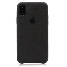 IPhone X XS 10 Кожаный чехол Alcantara (black)