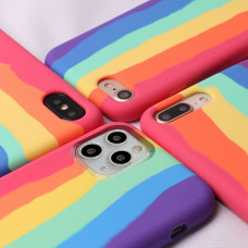 IPhone 11 pro max чехол радуга Silicone Case rainbow