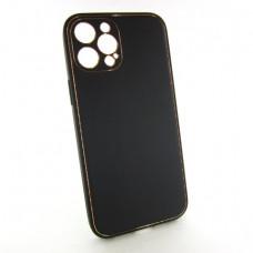 Iphone 12 pro max кожаный чехол Epik black