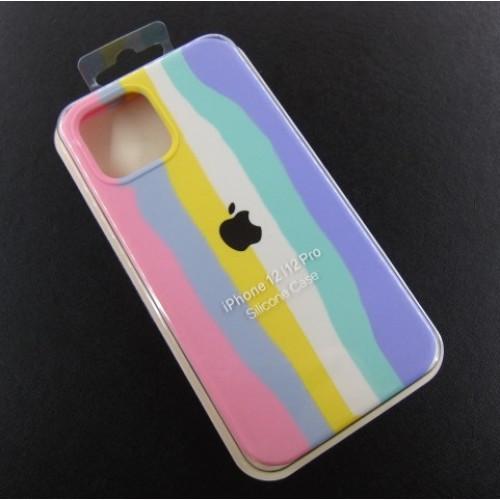 Iphone 12 12pro чехол радуга Silicone Case rainbow