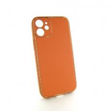 Iphone 12 mini кожаный чехол Epik orange