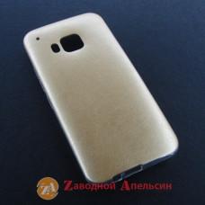 HTC One M9 чехол накладка кожа gold