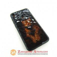 Huawei Y7 2019 (DUB-LX1) чехол Glass Case prism леопард